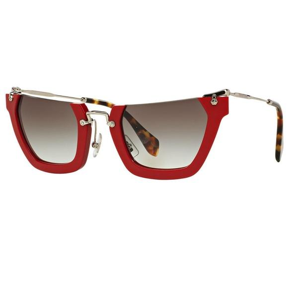 d0132f79f25 Miu Miu Wink Rasoir Sunglasses Red Silver